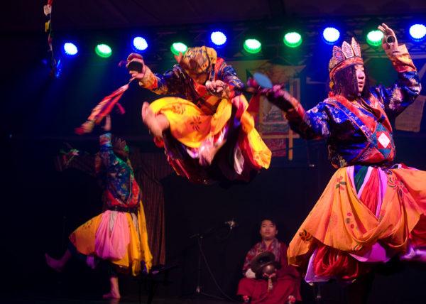 The ensemble from Bhutan: Needup Wangdee, Tashi Wangdi, Duba Dorji, Sangay Passang, Chhoden, Sangay Dorji, Karma Yenten, Sonam Zangpo